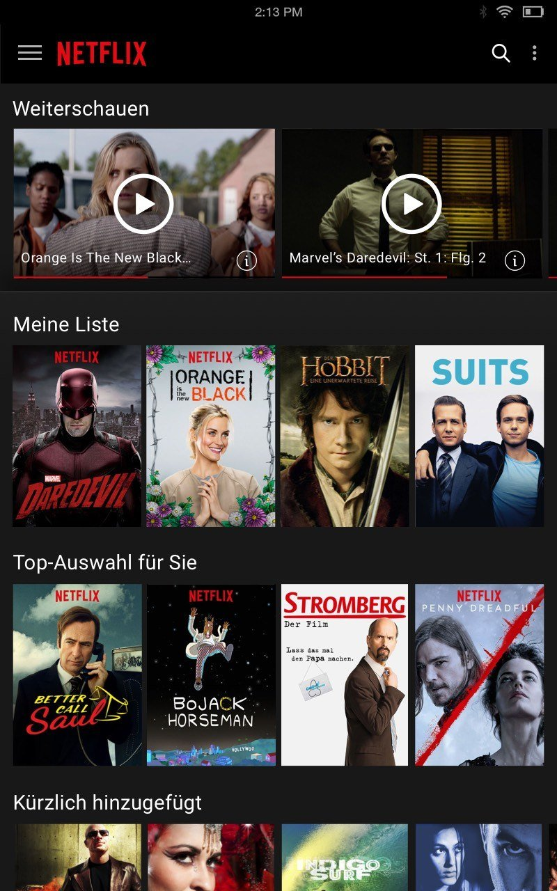 Netflix Liste im Smart TV Test