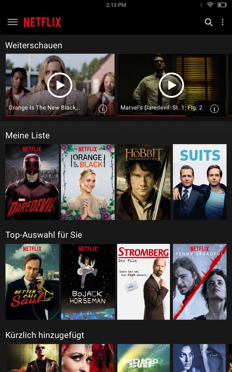 Netflix Liste im Smart TV Test