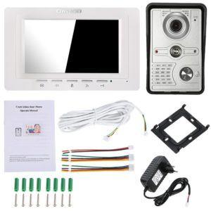 OWSOO 7 Video-Türsprechanlage mit IR-CUT regensicherer Außenkamera Visuelle Gegensprechanlage Zwei-Wege-Audio-Fernbedienung
