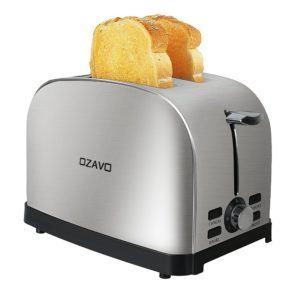 OZAVO Toaster mit Temperaturregelung, Edelstahl 2 Scheiben, Bagel-Funktion, Auftau-Modus, Toast-Zentrierung, Krümelschublade, 850W-1000W