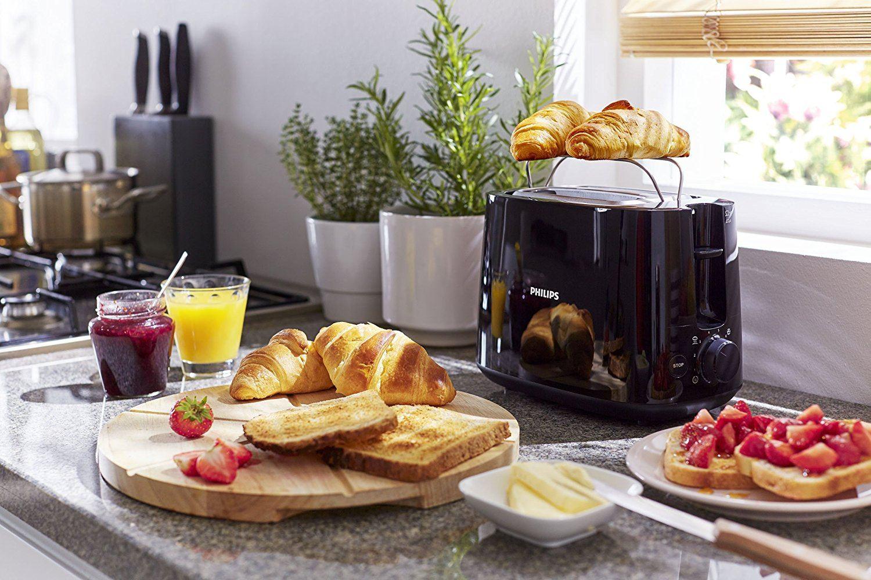 Philips HD258190 Toaster, integrierter Brötchenaufsatz, 8 Bräunungsstufen, schwarz test