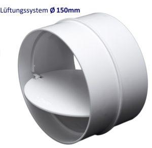 Rohrverbinder Verbindungsstück mit Rückstauklappe. Rohr Verbinder für PVC Lüftungssysteme Ø100, Ø125, Ø150 mm. (Ø150mm)