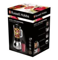 Der Russell Hobbs 23821-56 Glas-Standmixer Steel 2-in-1, Smoothie Maker inkl. To-Go-Becher mit Deckel