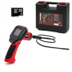 Schmidt Security Tools Inspektionskamera Endoskop EC-5 mit 2.31' LCD Farb Monitor mit 32GB Micro SD Karte PVR Aufnahme Kamera mit 1m Schlauch mit LED Beleu