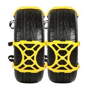 Schneeketten Genehmigt durch TÜV und ÖNORM TraPal Einfach zu Installieren Universelle Schneeketten für Jeden Reifen Breite 165mm - 265mm Schlamm Eisige Ketten für Auto SUV, 6er Set (Gelb)