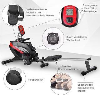 Die SportPlus Rudermaschine ist mit einem flüsterleisen magnetischen Bremssystem ausgestattet, dessen Trainingswiderstand in acht-Stufen eingestellt werden kann Test