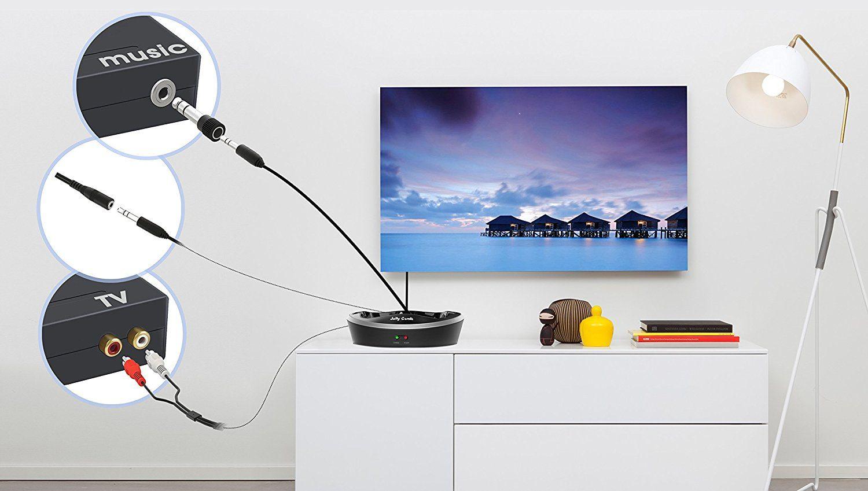 TV Funk Kopfhörer, Jelly Comb Funkkopfhörer mit Lautstärke-Regler, Multifunktions-Ladestation für TV und alle Ihre Multimedia-Gerät im test
