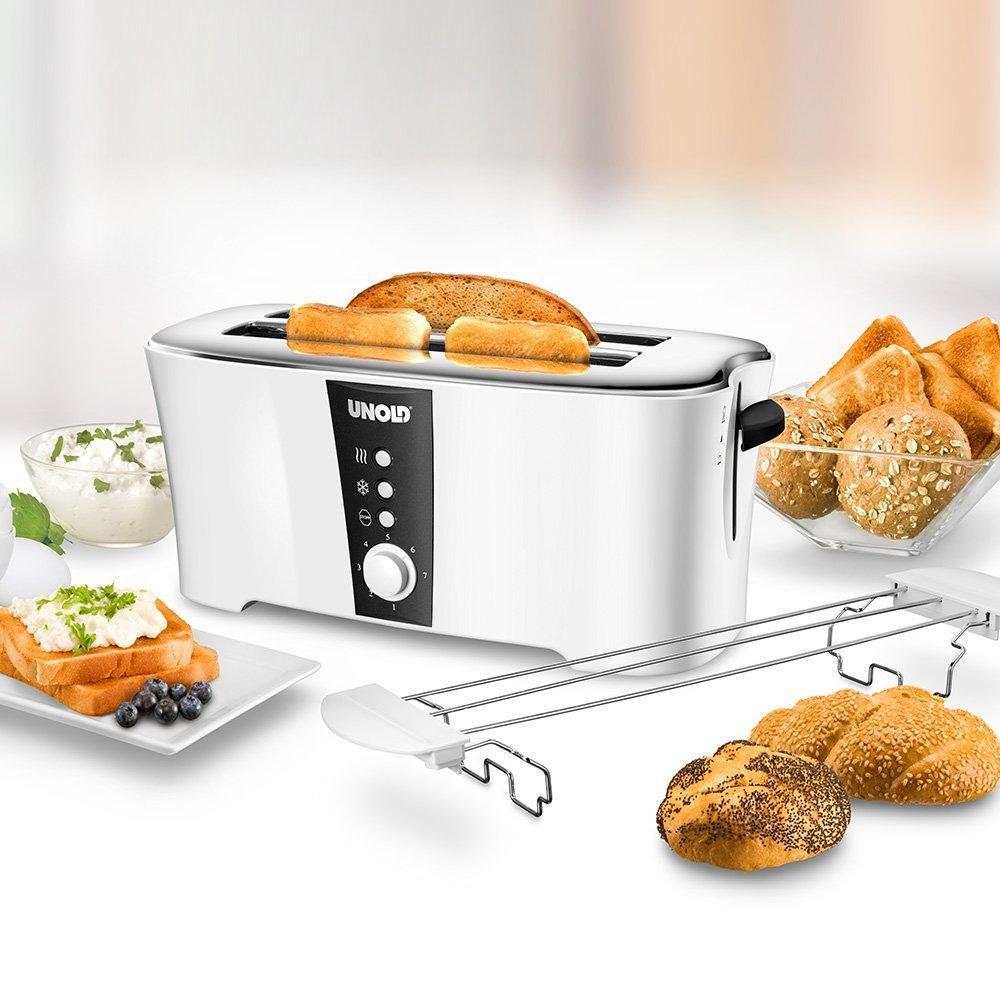 Unold 38020 Design Dual, 4-Scheiben-Doppel-Langschlitz-Toaster, 1.350 W,Wärmeisoliertes Cool-Touch-Gehäuse, 1350 watts, weiß test