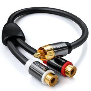 deleyCON PREMIUM 0,20m Audio Cinch Y-Adapter Verteiler Kabel für Subwoofer - AUX - 1x RCA Cinch Stecker zu 2x RCA Cinch Buchse - vergoldete Kontakte