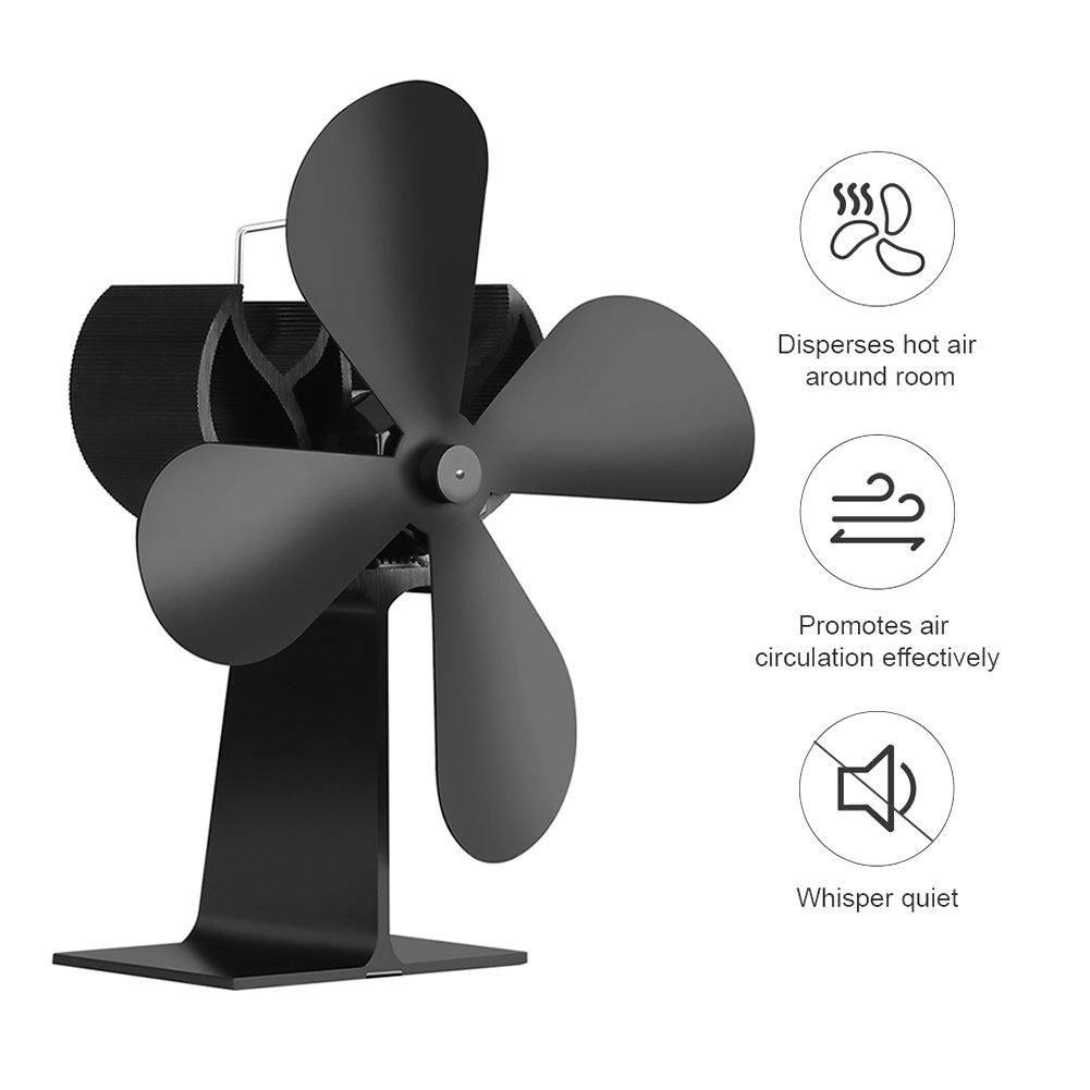 4 Rotorblätter Stromloser Ventilator Ofenventilator