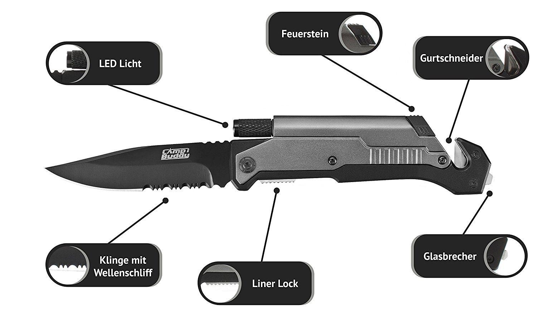 CampBuddy 5-in-1 Survival Messer im Test mit dem Wellenschliff