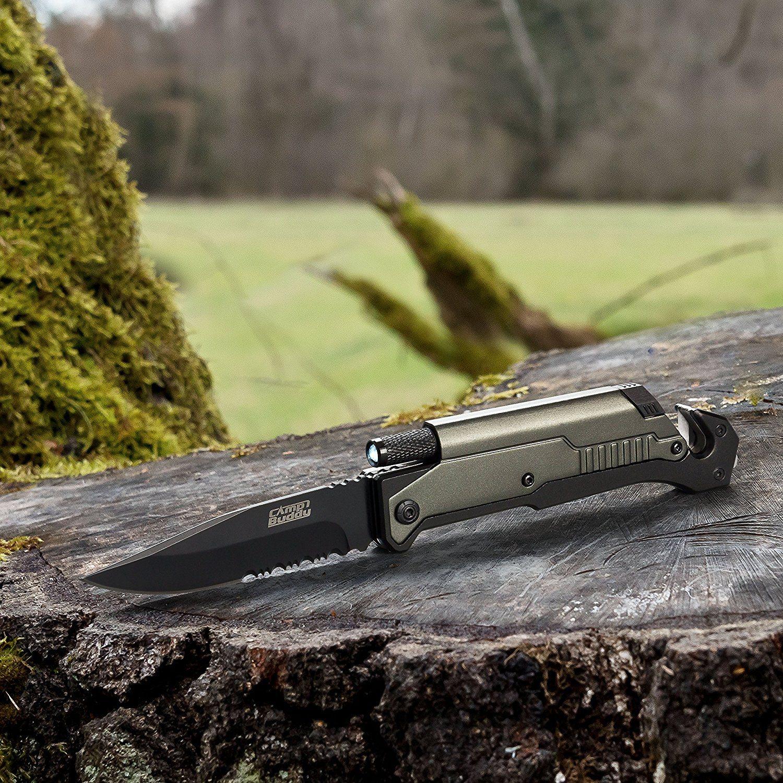 CampBuddy 5-in-1 Survival Messer im Test mit Feuerstein und Licht