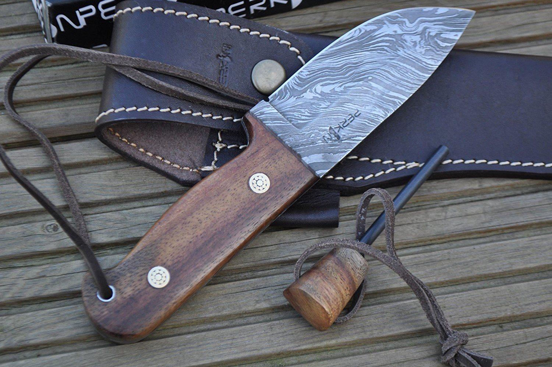 Damast Jagdmesser im Test mit Holzgriff