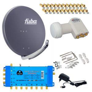 FUBA 8 Teilnehmer Digital SAT Anlage DAA850A + Opticum LNB 0,1dB FULL HDTV 4K + PMSE Multischalter 5-8 + 24 Vergoldete F-Stecker Gratis dazu