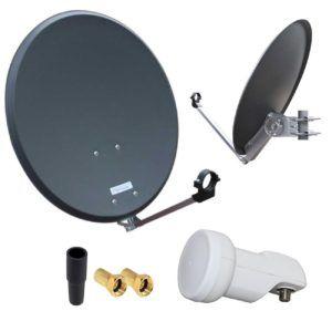 HD Digital SAT Anlage 60cm ALU Spiegel Schüssel Anthrazit + Single LNB 1 Teilnehmer zum Empfang von DVB-S-S2 Full HD 3D 4K Ultra HD (UHD) Signale + Stecker Gr