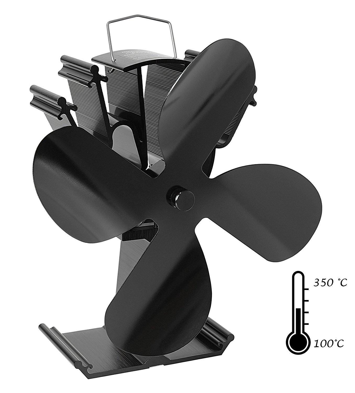 Mitsuru® Ofenventilator Ohne Strom Für Holzofen Kamin 4 Blätter Schwarz
