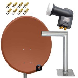 PremiumX Antenne PXS80 Stahl Ziegelrot 80cm Digital Sat Schüssel Spiegel FullHD HDTV + Quad LNB PXQS-SE 0,1 dB Quattro Switch 4 Teilnehmer + Wandhalter 45cm A