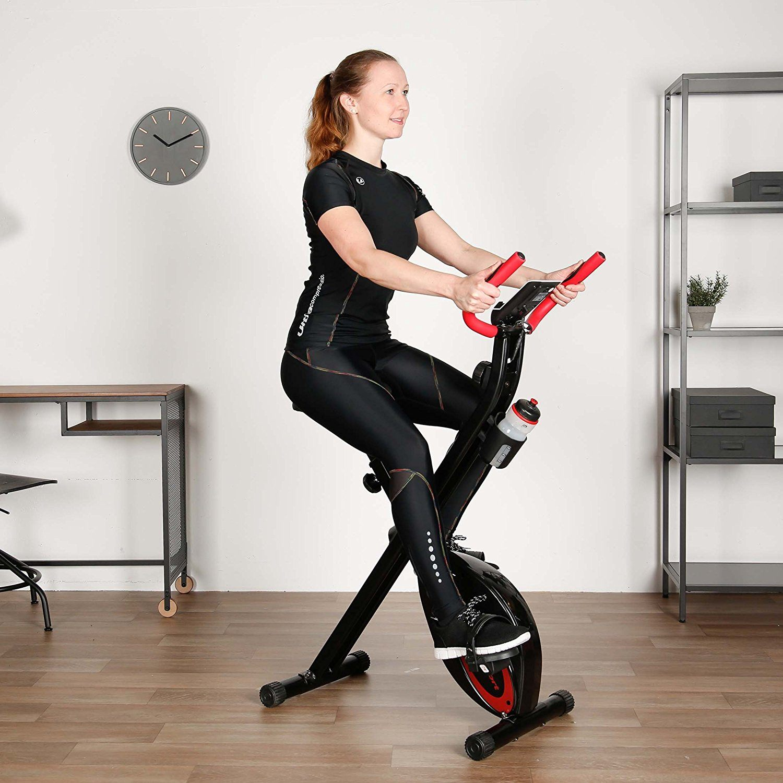 Ultrasport F-Bike, Fahrradtrainer, Heimtrainer, faltbares Fitnessfahrrad, Fitnessbike test