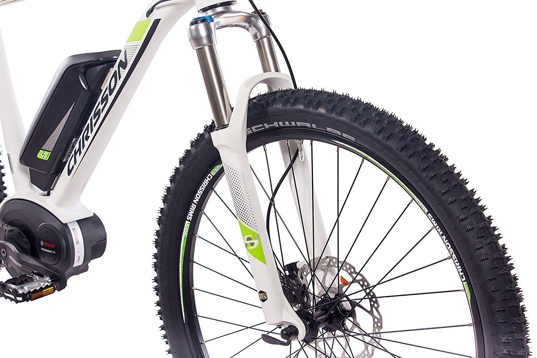 E-Mountainbike Test - E-Motor des E-Bikes mit Akku und das Vorderrad