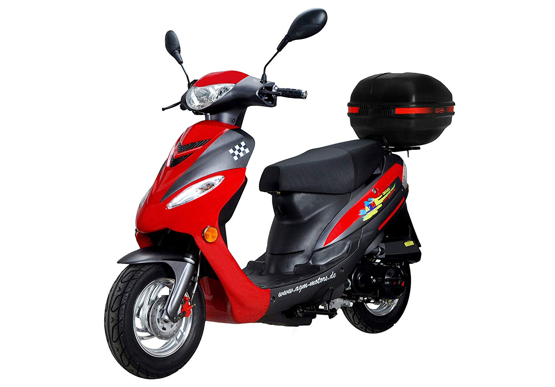 Motorroller Test – Motorroller GMX 450 SPORT rot mit dem Gepäckträger