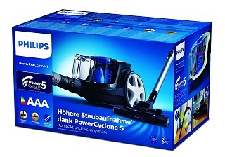 Verpackung von Philips beutelloser Staubsauger PowerPro Compact im Test & Vergleich
