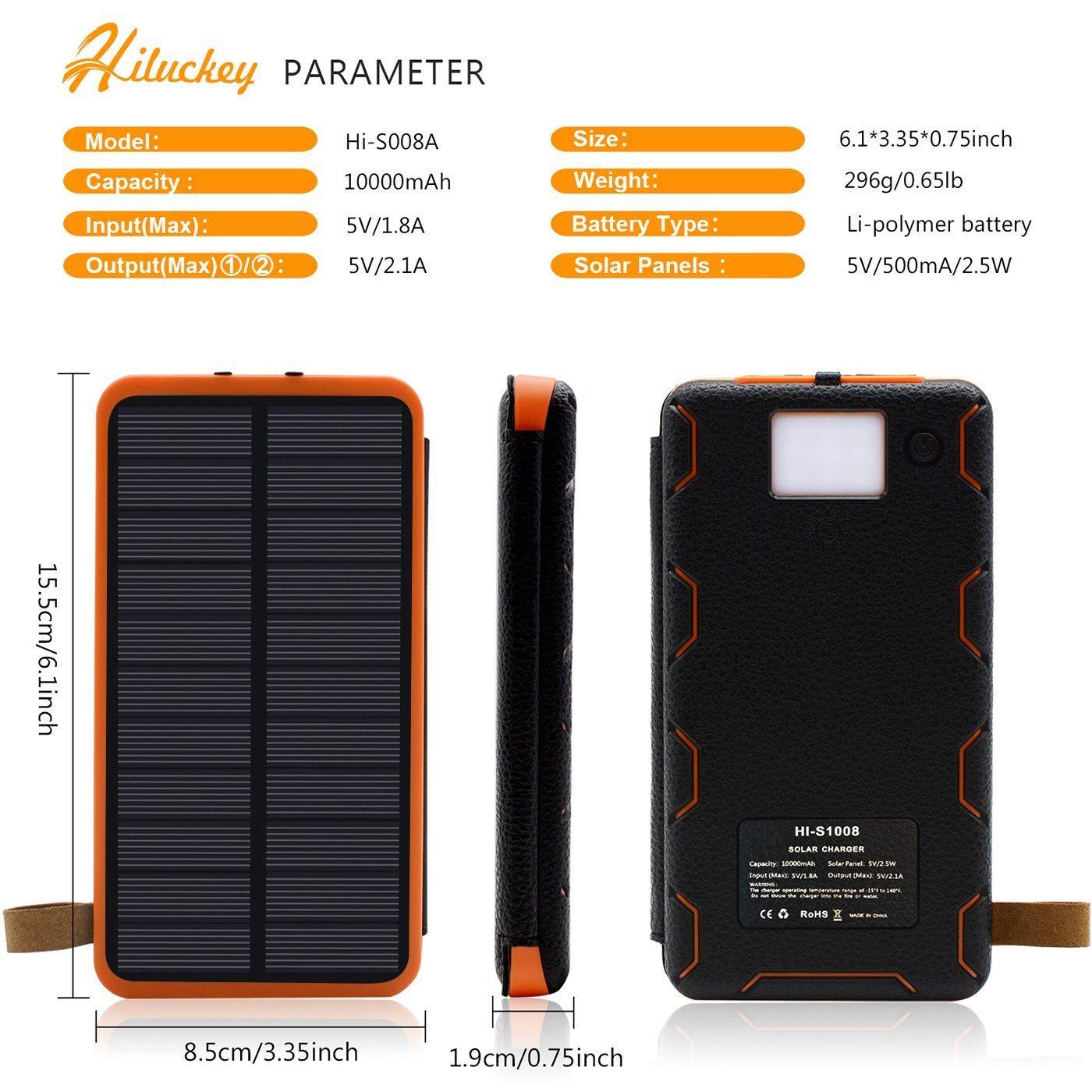 Solar Powerbank Test - die wichtigsten technischen Parameter des Solar Powerbanks