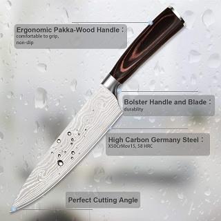 Das Küchenmesser mit pakka-Holz Griff von Acelink Professional im Test und Vergleich bei Expertentesten