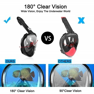 Sichtbarkeit von 180 Grad mit der HOBFU Tauchmaske