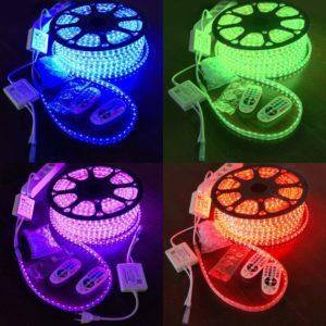 Verschiedene farbige LED Streifen im LED Fernseher Test