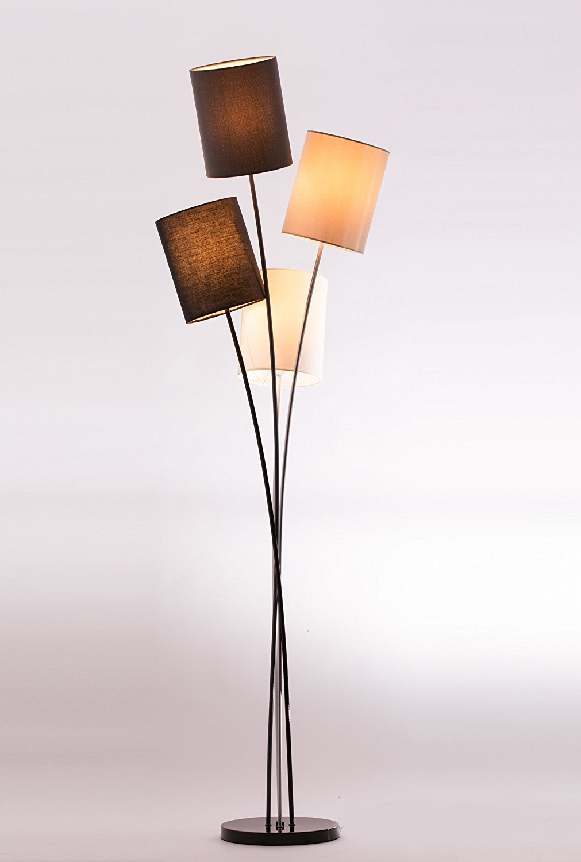 Stehlampe Test - die Stehlampe mit 4 Leuchten und 4 Lampenschirmen