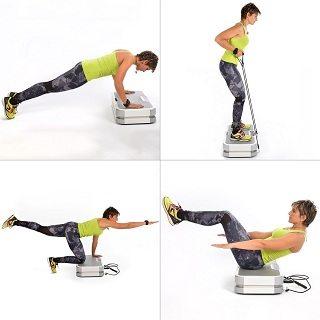 Frau macht Übungen mit skandika Vibrationsplatte 900 plus im Test
