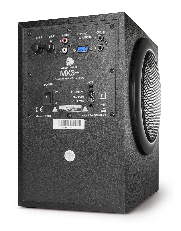 wavemaster MX3+ Anschlüsse im 2.1 Soundsystem Test