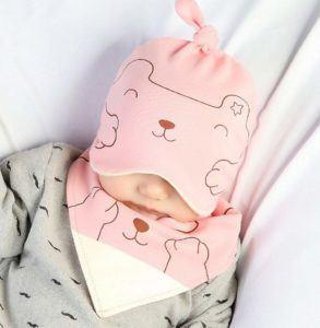 BIGBOBA Babymütze und Lätzchen aus Baumwolle