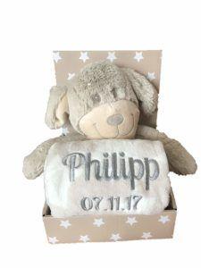 Babydecke mit Name & Geburtsdatum bestickt inkl. Plüsch Stofftier