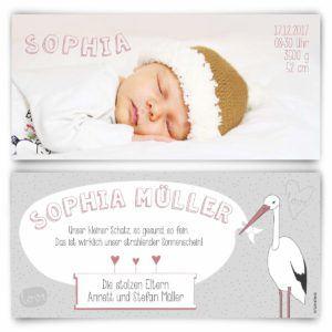 Geburtskarten (50 Stück) - Storch - Geburt Babykarten Mädchen Junge Foto Karten