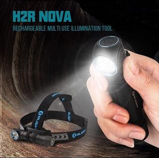Die Stirnlampe mit verschiedenen Helligkeitsstufen von Olight H2R Nova 18650 im Test und Vergleich bei Expertentesten