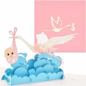 PaperCrush Pop-Up Karte Geburt Mädchen Babystorch