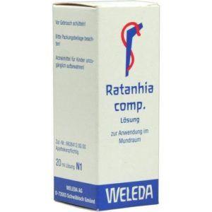 Verpackung von Mundwasser RATANHIA COMP von Weleda im Test