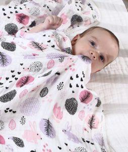 Wickeltuch, Baby-Wickeldecke, Kinderwagen-Decke für Neugeborene, weich und gemütlich, zwei Schichten Musselin-Baumwolle, unisex, 100 x 150 cm