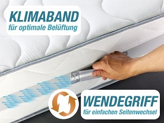 Der hochatmungsaktive 3D-Klimaband SilverCare Border Bezug ist für Allergiker geeignet, strapazierfähig, mit einem reißfesten Reißverschluss ausgestattet und somit leicht abnehmbar TEst