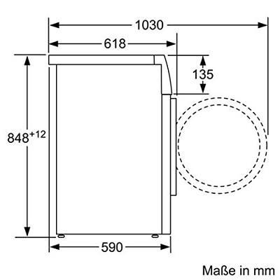 Abmessungen der Bosch WAK28227 Serie 4 Waschmaschine Abmessungen im Test