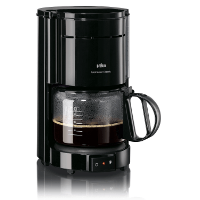 Schwarze Filterkaffeemaschine mit Glaskanne von Braun KF 47 1 im Test