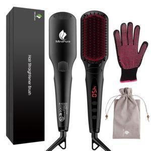2-in-1 Ionische Glättbürste mit kostenlosem hitzebeständigem Handschuh Test