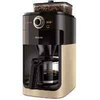 Champagner/schwarze Filterkaffeemaschine mit Mahlwerk von Philips Grind und Brew HD7768 90 im Test