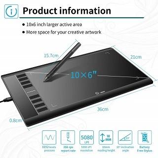 DAs Ugee DEC0001BK Grafiktablett ist sehr klein und kompakt im Test