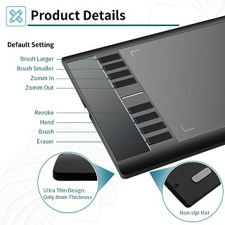 Das Ugee DEC0001BK Grafiktablett hat viele Funktionen im Test gezeigt