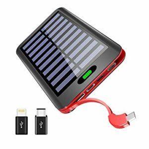 Solar Powerbank mit rotem Kabel