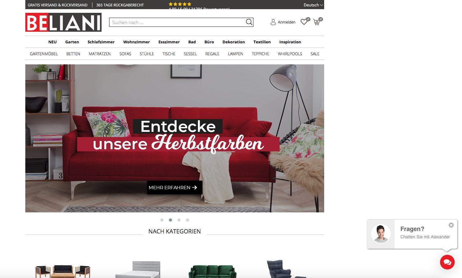 Bildschirmfoto von Beliani.de