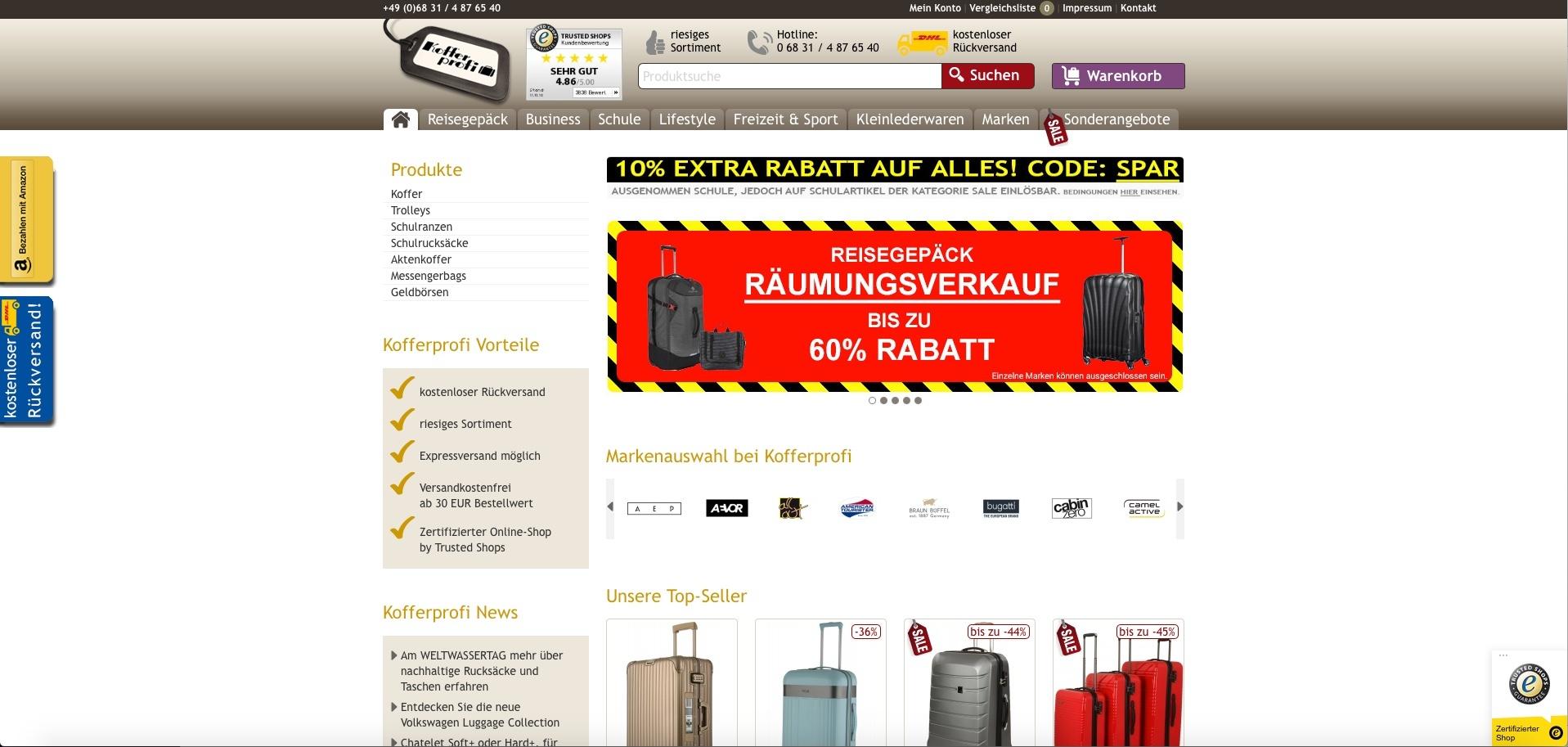 Kofferprofi gehört zu den Top 50 Online Shops bei ExpertenTesten!
