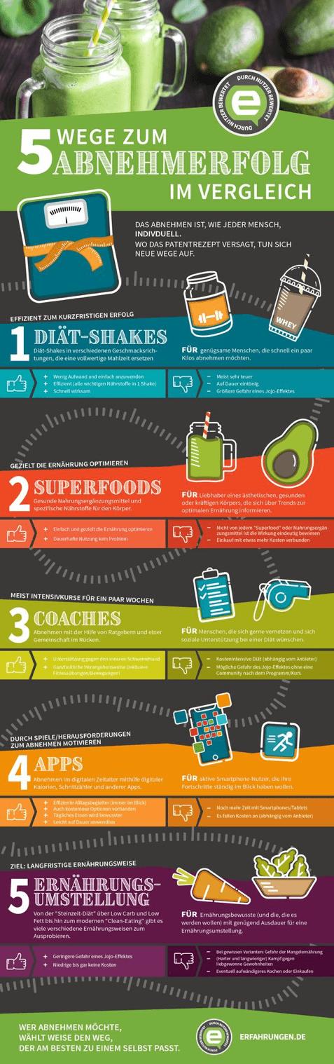 Infografik über fünf verschiedene Wege, um abzunehmen, die im Internet angeboten werden und ihre Vor- und Nachteile